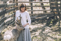 年轻美丽的妇女在阳光下的拥抱动物狍 库存照片