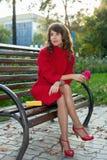 年轻美丽的妇女坐一条长凳在秋天公园 库存照片
