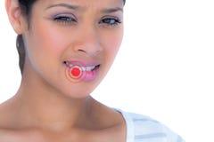 美丽的妇女尖酸的嘴唇画象的综合图象  图库摄影