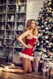 美丽的妇女性感的圣诞老人装饰圣诞树 库存照片