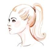美丽的妇女惊人的水彩画象  免版税库存图片