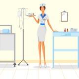 美丽的妇女护士在医院 图库摄影