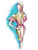 美丽的妇女时尚剪影  免版税库存图片