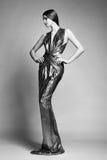 年轻美丽的妇女时尚画象银色礼服的 图库摄影