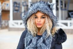 美丽的妇女画象灰狼帽子的, 免版税库存图片