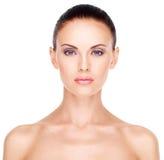 美丽的妇女的健康面孔 免版税图库摄影