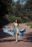 年轻美丽的妇女蓝色礼服人行道在公园 图库摄影