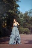 年轻美丽的妇女蓝色礼服人行道在公园 库存图片