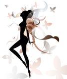 美丽的妇女象化妆用品和温泉,白色背景的商标妇女形状, 免版税库存照片
