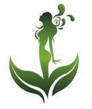 美丽的妇女象化妆用品和温泉,白色背景的商标妇女绿色形状, 免版税库存照片