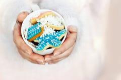 美丽的妇女递拿着一个杯子用冬天/圣诞节曲奇饼;与拷贝空间的冬天背景 库存照片