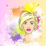 美丽的妇女面孔五颜六色的墨水油漆飞溅 库存图片