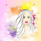 美丽的妇女面孔五颜六色的墨水油漆飞溅 库存照片
