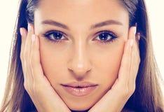 美丽的妇女面孔自然画象健康皮肤 库存图片