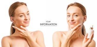 美丽的妇女面孔血清透明质酸整容术化妆用品设置了样式 库存图片