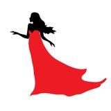 美丽的妇女黑色剪影红色礼服的 免版税库存照片