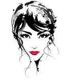 美丽的妇女,商标妇女面对在白色背景,传染媒介的构成 皇族释放例证