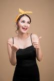 美丽的妇女画报样式画象 亚洲妇女手势 图库摄影