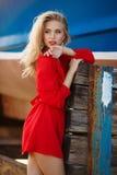 美丽的妇女画象在老船坞 免版税库存图片