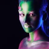 美丽的妇女画象有人体艺术的 图库摄影
