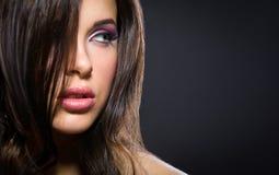 美丽的妇女画象有精采构成的 免版税库存照片