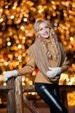 年轻美丽的妇女画象有长的公平的头发的室外在一个冷的冬日。冬天衣裳的美丽的白肤金发的女孩 库存照片