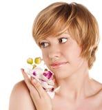 美丽的妇女画象白色背景的 免版税库存照片