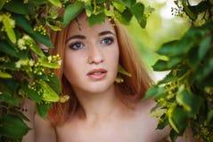 美丽的妇女画象绿色叶子的 免版税库存图片