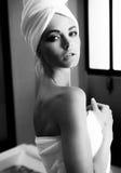浴美丽的妇女 免版税图库摄影