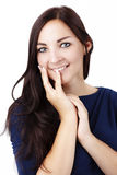 美丽的妇女smilling的演播室画象 库存照片