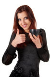 美丽的妇女Wuth咖啡杯 库存图片