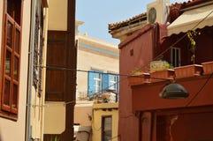 美丽的威尼斯式样式大厦在港口邻里在干尼亚州 历史建筑学旅行 库存图片