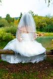 美丽的婚礼礼服的新娘与坐由一个鱼池的长的面纱本质上 免版税库存图片