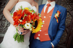 美丽的婚礼花束新娘 库存照片
