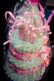 美丽的婴孩的蛋糕 可爱的桃红色袜子 香草 受影响 幸福 幸福桃红色云彩  优秀礼物 它做 免版税图库摄影