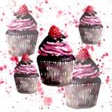 美丽的嫩明亮的图表可口鲜美巧克力美味的夏天点心杯形蛋糕用在红色浪花的红草莓 皇族释放例证
