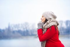 美丽的孕妇冬天画象  免版税库存图片