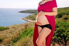 美丽的孕妇和夫人是拥抱和握她怀孕的腹部,站立在自然环境里 等待的婴孩 免版税库存图片