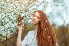 美丽的孕妇在开花的庭院里 图库摄影