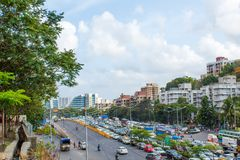美丽的孟买市侧视图 库存照片