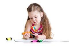 美丽的孩子女孩图画在素描便笺簿书写 图库摄影