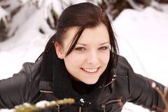 美丽的室外雪妇女 免版税库存图片