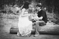 美丽的家庭-一名怀孕的愉快的妇女、一个笑的爸爸和一个小儿子坐注册黑白的森林 图库摄影