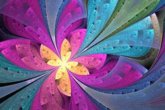 美丽的对角分数维花或蝴蝶在冰屑玻璃 库存照片