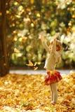 美丽的小女孩在使用本质上的秋天公园 库存图片