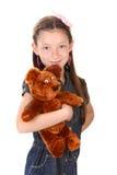 美丽的小女孩纵向有玩具熊的 免版税图库摄影