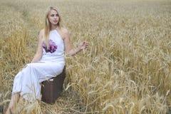 美丽的小姐画象带着手提箱的在户外乡下风景背景 库存图片