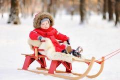 美丽的小孩男孩画象在冬天公园 免版税图库摄影