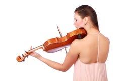 美丽的小提琴手画象  免版税库存图片