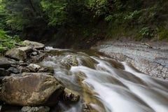 美丽的小河在森林,在岸的大岩石 免版税库存图片